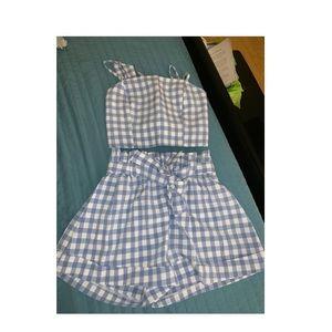 Plaid cami top and shorts set